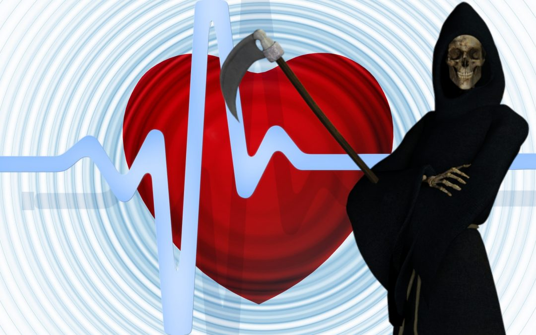grim reaper in front of heartbeat